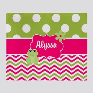 Pink Green Chevron Frog Personalized Throw Blanket