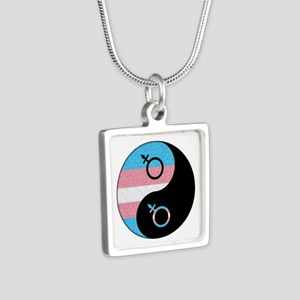 Transgender Yin and Yang Silver Square Necklace