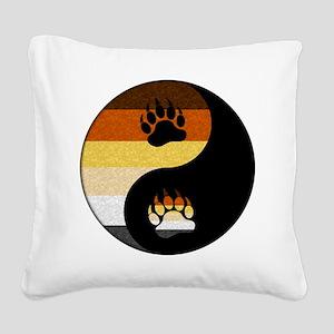 Bear Yin and Yang Square Canvas Pillow