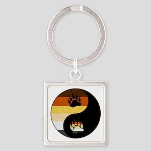 Bear Yin and Yang Square Keychain