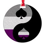 Asexual Yin and Yang Round Ornament
