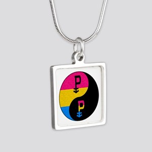 Pansexual Yin and Yang Silver Square Necklace