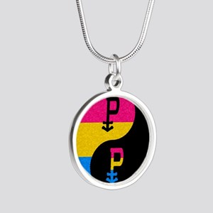 Pansexual Yin and Yang Silver Round Necklace