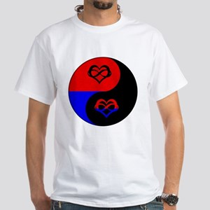 Polyamorous Yin and Yang White T-Shirt