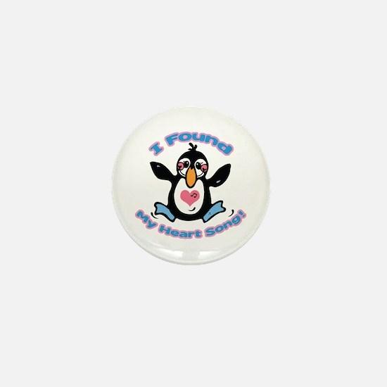 Cute Heart Song Penguin Mini Button