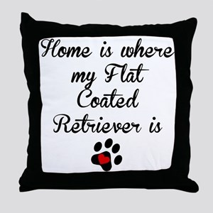 Home Is Where My Flat-Coated Retriever Is Throw Pi