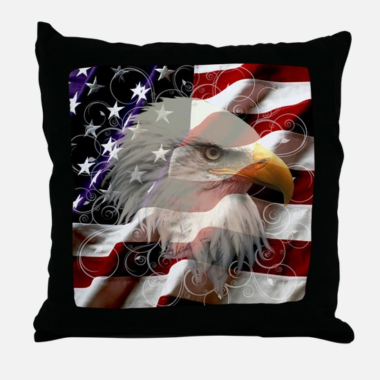 American Eagle Flag Throw Pillow