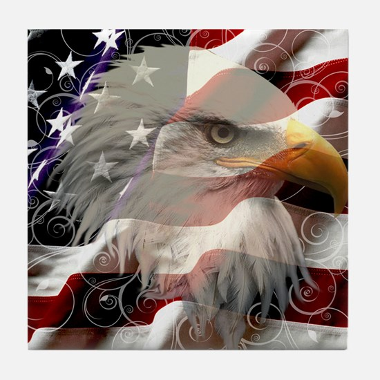American Eagle Flag Tile Coaster