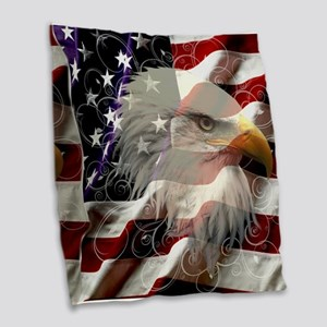 American Eagle Flag Burlap Throw Pillow