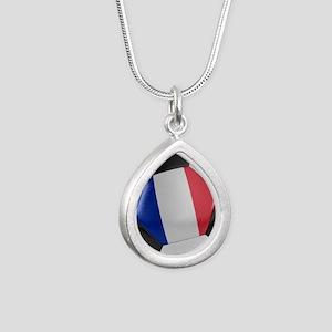 France Soccer Ball Silver Teardrop Necklace