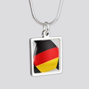 Germany Soccer Ball Silver Square Necklace