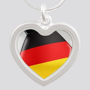 Germany Soccer Ball Silver Heart Necklace