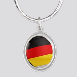 Germany Soccer Ball Silver Oval Necklace