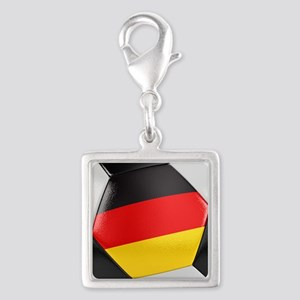 Germany Soccer Ball Silver Square Charm