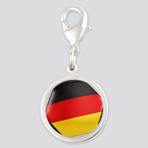 Germany Soccer Ball Silver Round Charm