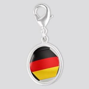 Germany Soccer Ball Silver Oval Charm