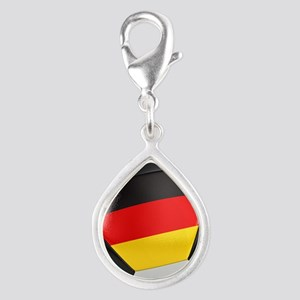 Germany Soccer Ball Silver Teardrop Charm