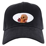 Skull and Red Rose Baseball Hat