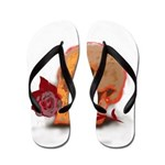 Skull and Red Rose Flip Flops