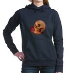 Skull and Red Rose Women's Hooded Sweatshirt