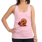 Skull and Red Rose Racerback Tank Top