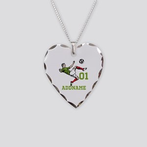 Customizable Soccer Necklace Heart Charm