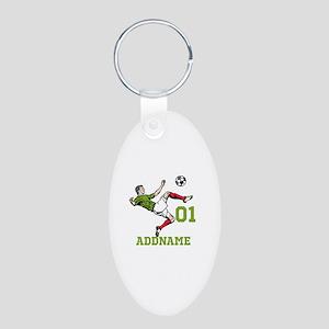 Customizable Soccer Aluminum Oval Keychain