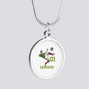 Customizable Soccer Silver Round Necklace