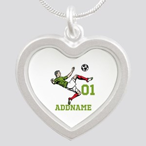 Customizable Soccer Silver Heart Necklace