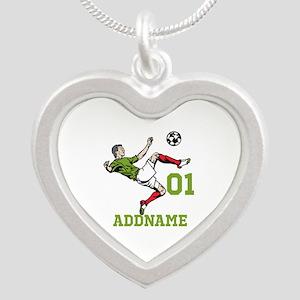 Customizable Soccer Silver Heart Necklace
