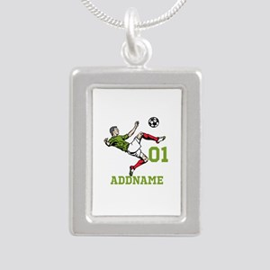 Customizable Soccer Silver Portrait Necklace