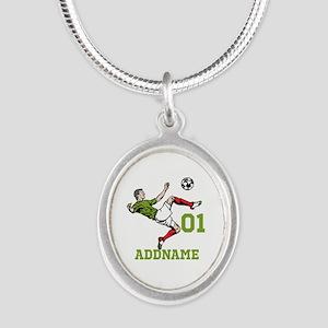 Customizable Soccer Silver Oval Necklace