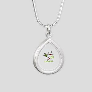 Customizable Soccer Silver Teardrop Necklace