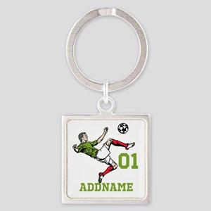 Customizable Soccer Square Keychain