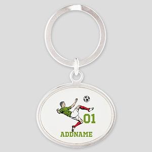 Customizable Soccer Oval Keychain