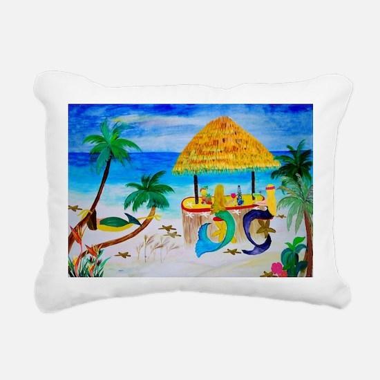 Cute Beach art mermaids Rectangular Canvas Pillow