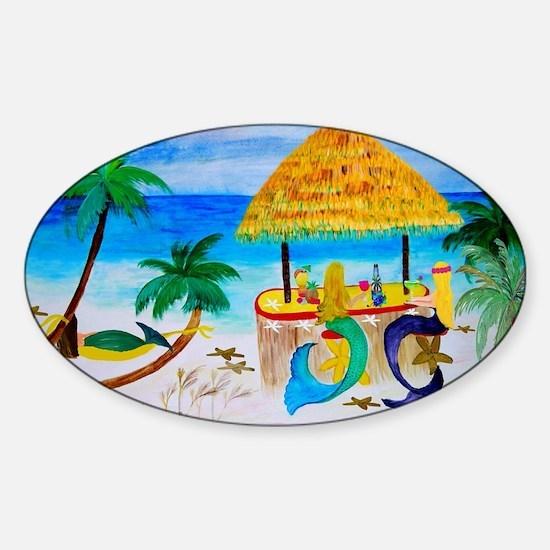 Cute Beach art mermaids Sticker (Oval)