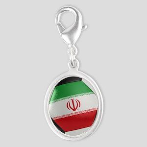 Iran Soccer Ball Silver Oval Charm