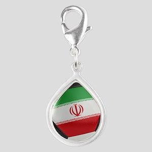 Iran Soccer Ball Silver Teardrop Charm
