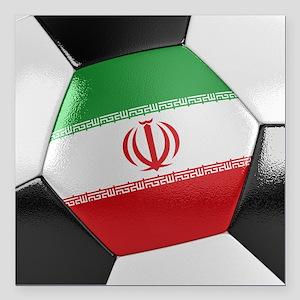 "Iran Soccer Ball Square Car Magnet 3"" x 3"""