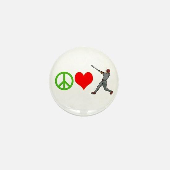 PEACE, LOVE, BASEBALL Mini Button