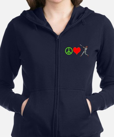 PEACE, LOVE, BASEBALL Women's Zip Hoodie