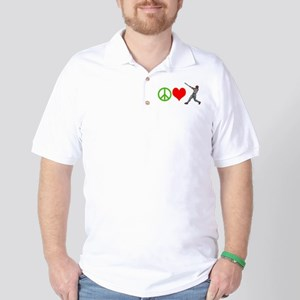 PEACE, LOVE, BASEBALL Golf Shirt