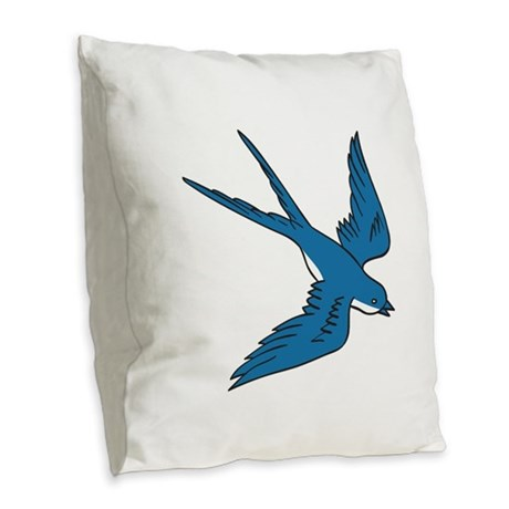 Swallow Flying Down Drawing Burlap Throw Pillow