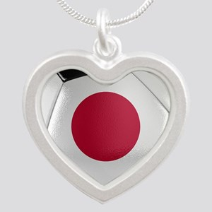 Japan Soccer Ball Silver Heart Necklace