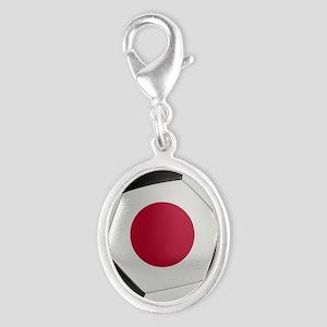 Japan Soccer Ball Silver Oval Charm