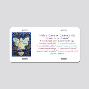 Blue & Gold Cancer Angel Aluminum License Plate