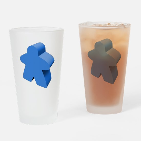 Blue Meeple Drinking Glass