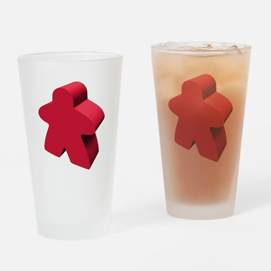 Red Meeple Drinking Glass