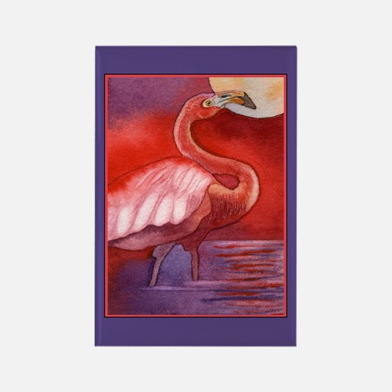 Red Flamingo Rectangle Magnet